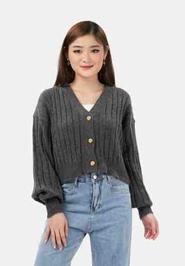 Soft Knit Crop Cardigan in Grey image