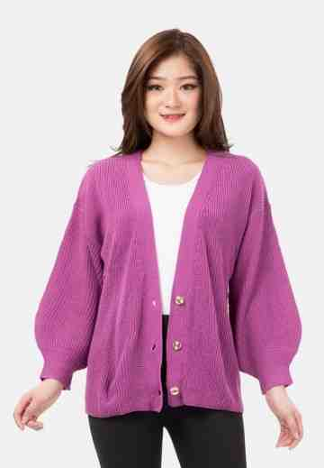 Button Balloon Sleeve Knit Cardigan in Purple image