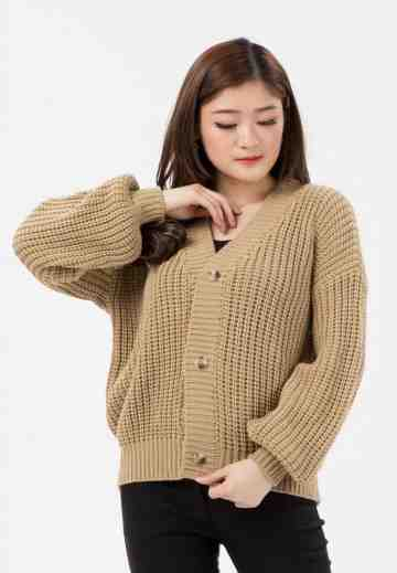 Button Puff Sleeve Knit Cardigan image