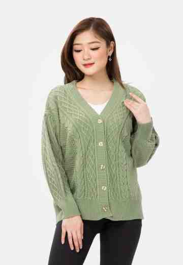 Cable Button Knit Cardigan in Green image