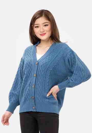 Cable Button Knit Cardigan in Blue image
