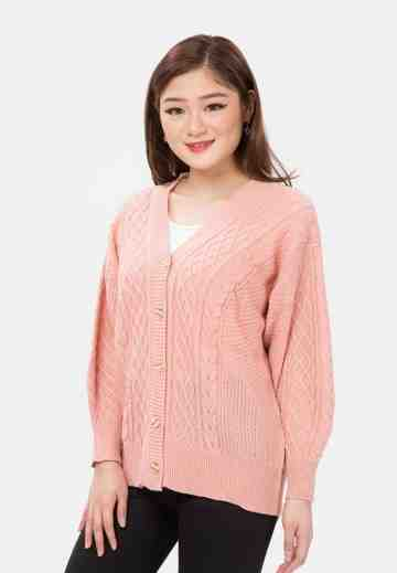 Cable Button Knit Cardigan in Pink image