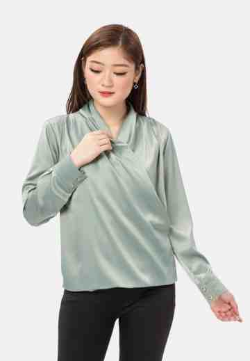 Kimono Sateen Long Sleeve Blouse Green image