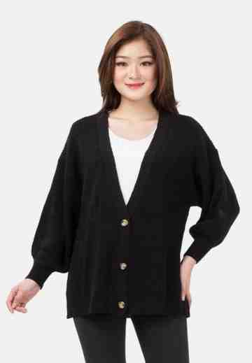 Button Balloon Sleeve Knit Cardigan in Black image