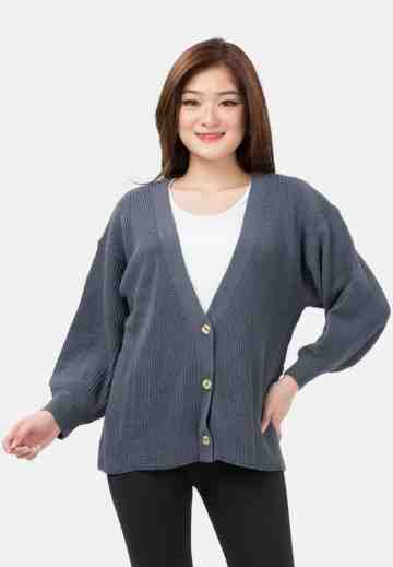 Button Balloon Sleeve Knit Cardigan in Grey image