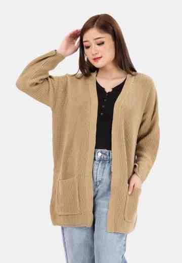 Pocket Long Knit Cardigan in Beige image