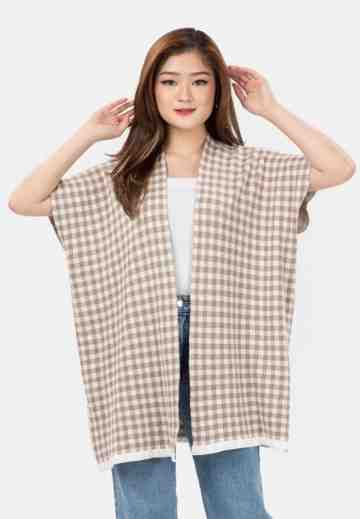 Checker Knit Cardigan in Brown image