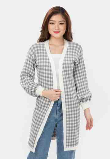Checker Puff Sleeve Knit Cardigan in Grey image