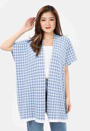 Checker Knit Cardigan in Blue image