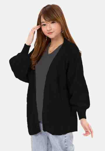 Balloon Sleeve Knit Cardigan in Black image