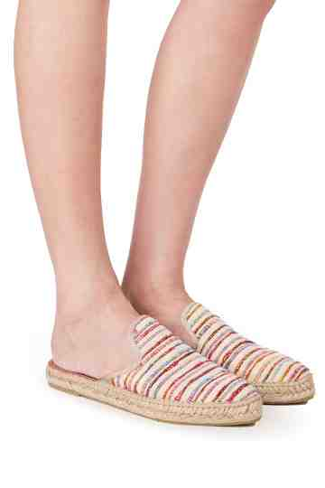 """Ona"" Flat Stripes Silk Fabric Mule Espadrilles"