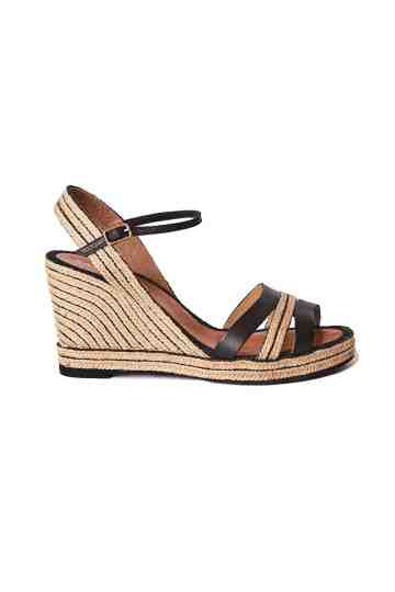 9cm Wedge Leather Jute Strap Espadrilles