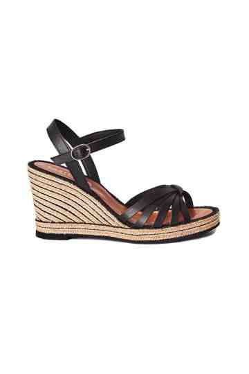 9cm Wedge Leather Strap Espadrilles