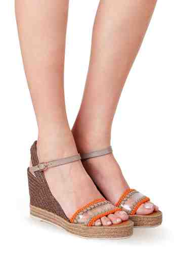 9cm Embroidered Vynil Strap Wedge Espadrilles