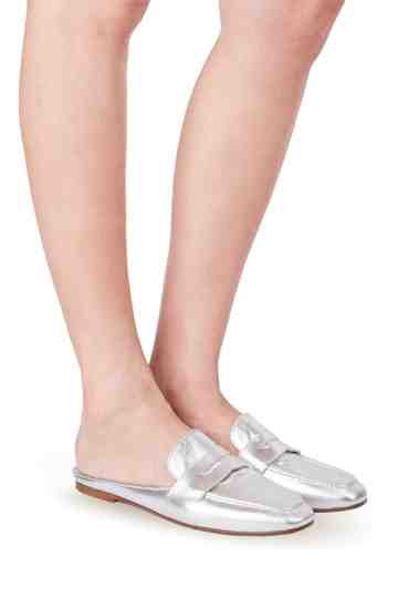 Metallic Leather Loafer Mules