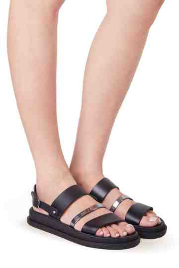 3cm Three Straps Leather Sandals