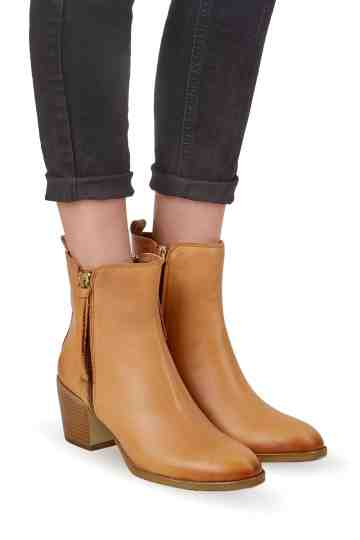 Cowboy Double Zip Ankle Leather Boots