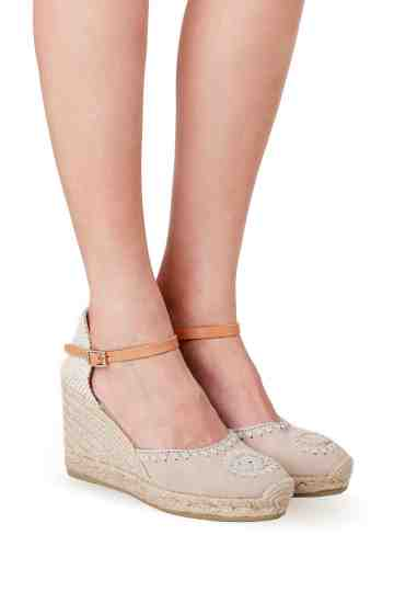 Embroidereded Suede Wedge Espadrilles