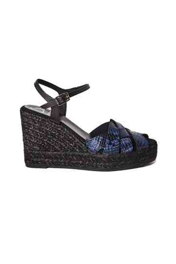 Ankle Strap Snake Printed Leather Wedge Espadrilles