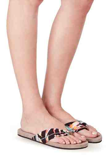 """Cupid Tropical"" Printed Fabric Thong Sandals"