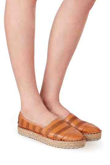 Leather Slip On Espadrilles