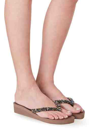 """Classic Aby"" 3cm Sole Crystal Embellished Rubber Thong Sandals"