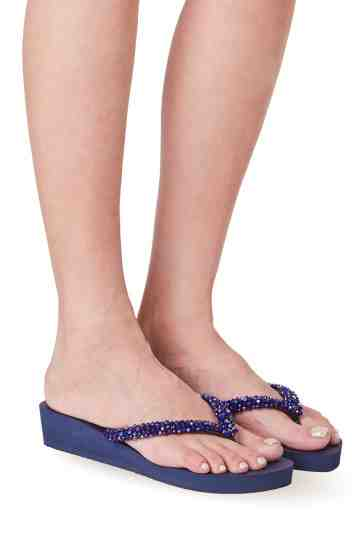 """Precious Classic"" 3cm Blue Sole Crystal Embellished Rubber Thong Sandals"