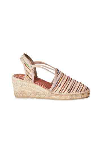 """Tania"" 6cm Stripes Silk Fabric Wedge Espadrilles"