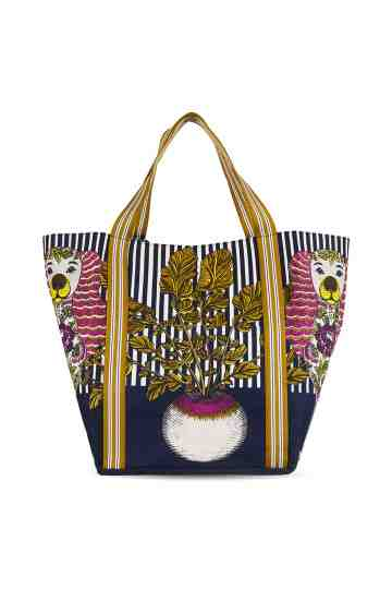 """Thelma & Louise"" Navy Printed Canvas Tote Bag"