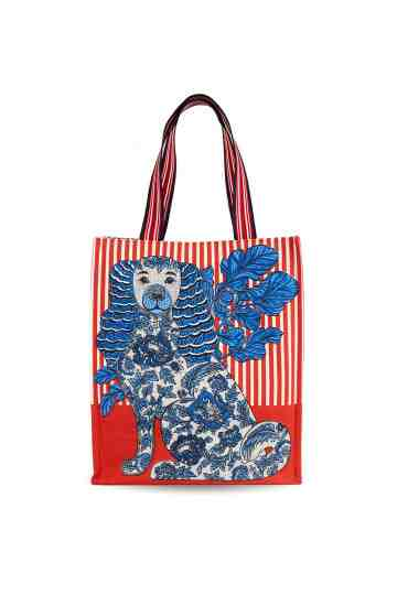 """Thelma"" Street Red Printed Canvas Tote Bag"