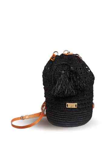 """Bacoa"" Crochet Backpack With Adjustable Leather Strap"