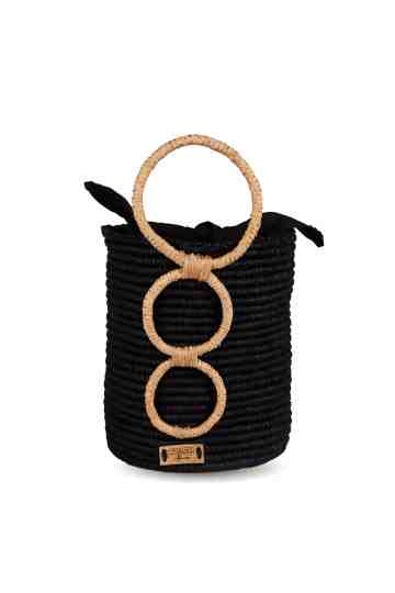 """Olympoa"" Crochet Bucket Bag With Round Top Handle"