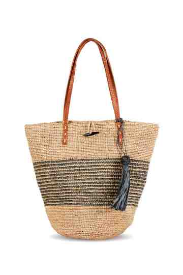 """Bayapoa"" Crochet Shoulder Bag With Leather Strap"