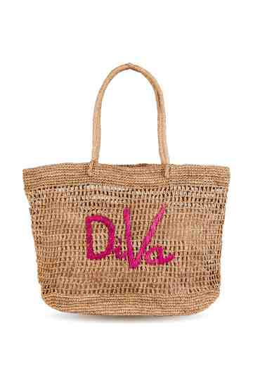"""Blabla"" Diva Crochet Tote Bag With Embroidered Message"