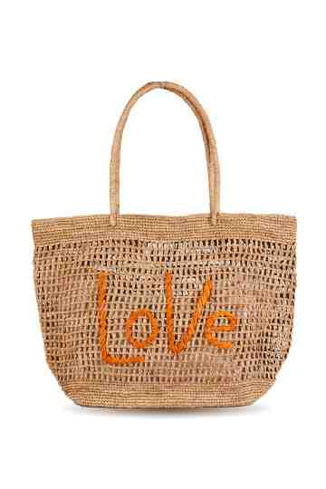 """Blabla"" Love Crochet Tote Bag With Embroidered Message"