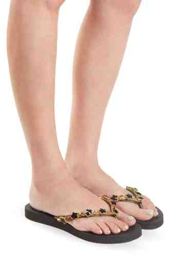 """Black Star'' Crystal Embellished Rubber Thong Sandals"