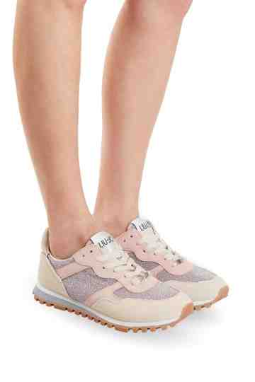 """Wonder"" White Pink Glitter Suede Sneakers"