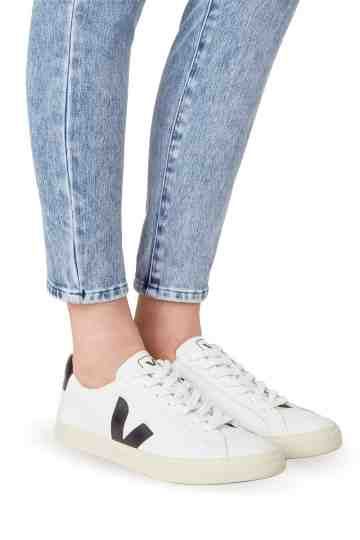 Esplar White Black Lace-Up Leather Sneakers