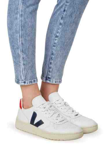 V 10 White Nautico Pekin Perforated Leather Sneakers