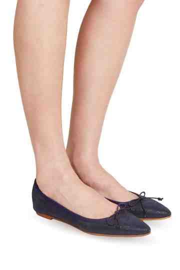Bow Tie Embossed Leather Ballerinas Flats