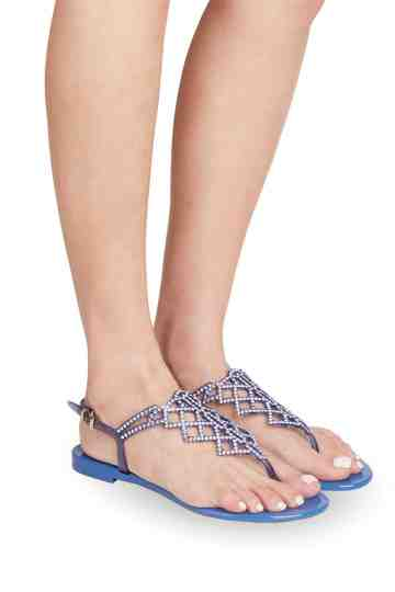 Blue Jelly Sandals With Swarovski Ornament