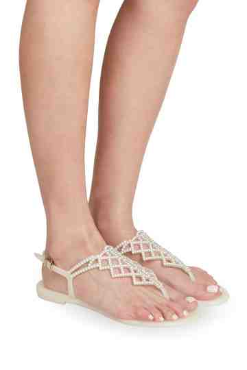 White Jelly Sandals With Swarovski Ornament