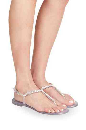 Silver Jelly Thongs With Swarovski Ornament