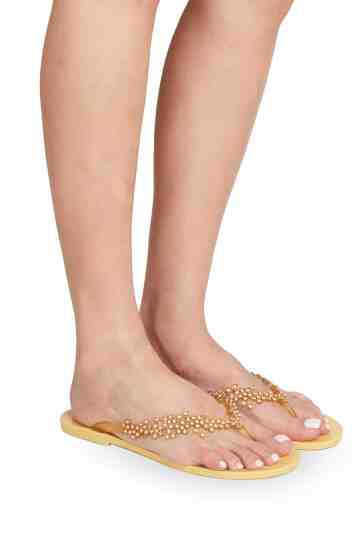 Brown Jelly Flip-Flops With Swarovski Ornament