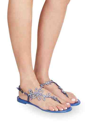 Blue Jelly Sandals With Crystal Ornament