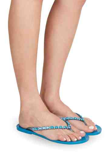 Turquoise Flip-Flops With Swarovski Ornament