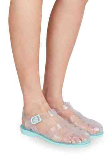 """Biarritz"" Translucent Jelly Buckled Sandals"