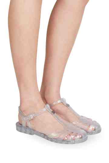 """Laida"" Glitter Jelly Buckled Sandals"