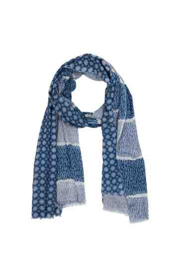 Blue And White Scarf With Combo Pattern