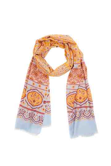 Yellow And Light Blue Scarf With Ethnic Pattern